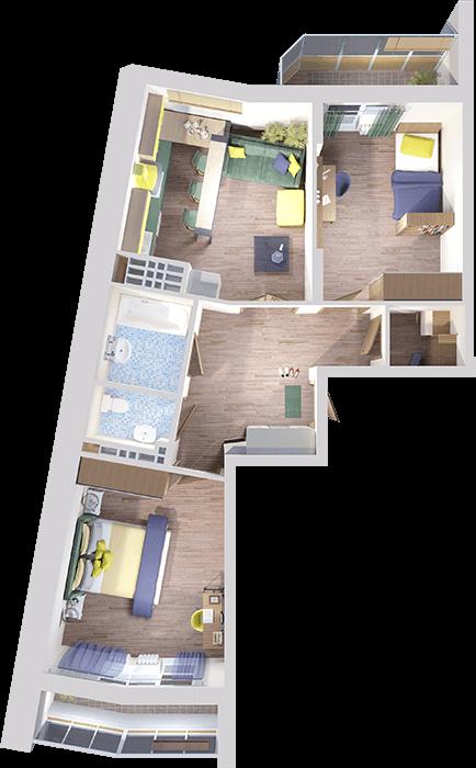 План квартиры в 3D